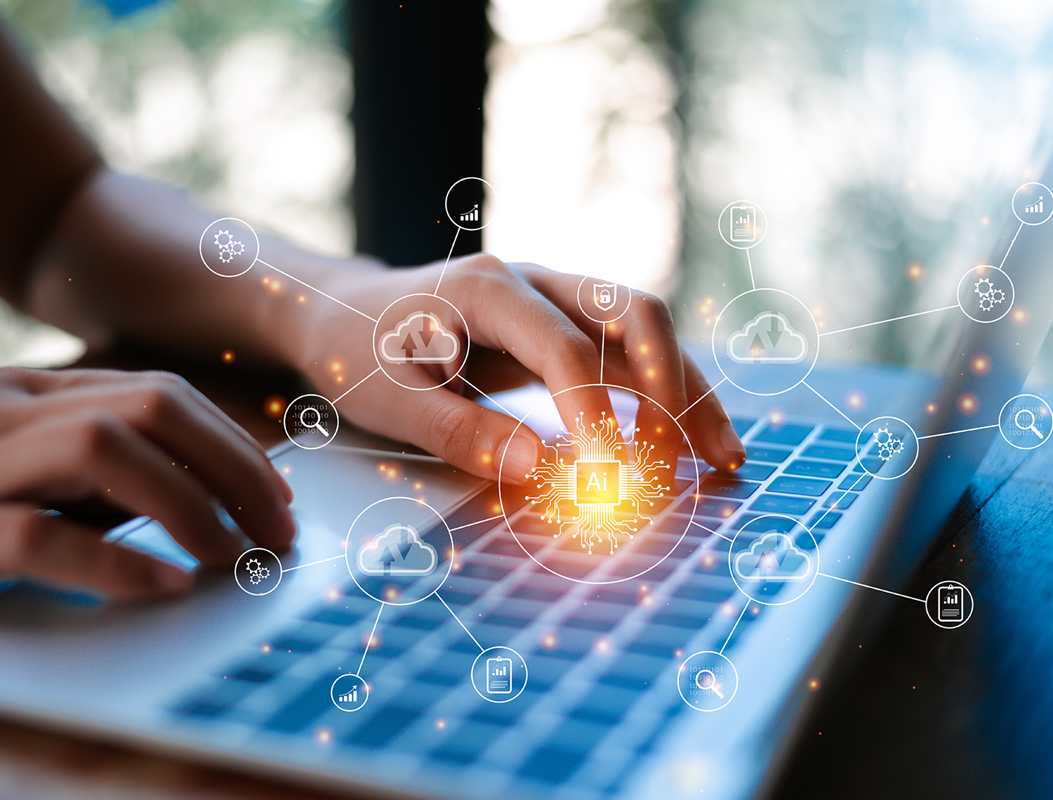 Digital transformation change management, internet of things. new technology bigdata and business process strategy, customer service management, cloud computing, smart industry.Ai technology.